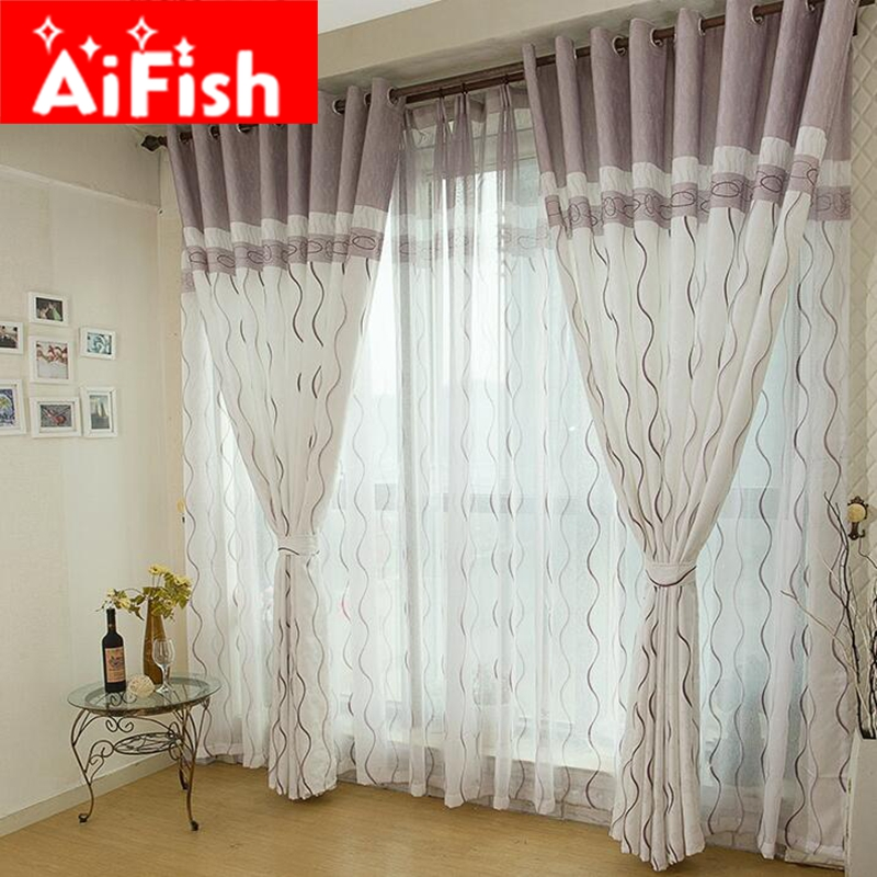 Contemporary Contracted Semi-shade Cloth Curtain S Stripe Voile Tulle Drape Grey Brown Window Curtains for Living Room AP380-30 ...