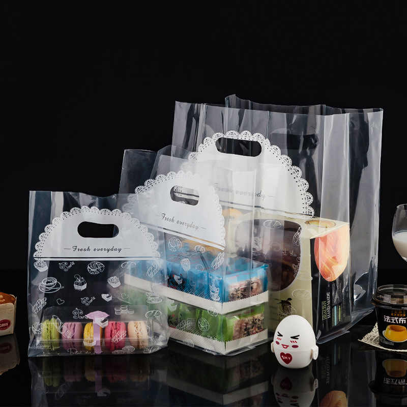 Plastic Bags for Baking Egg Tart Sushi Packaging Bread Cake Shop Disposable Bag Takeaway Transparent Plastic Tote Gift Bags