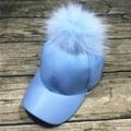 Мода Новый 100% мех енота four seasons большой Staining15cm мяч Корковых бейсболки visera шляпа женщина кости snapback