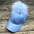 Moda de Nova 100% quatro estações grande Staining15cm bola de pele de guaxinim mulher do chapéu bonés de Beisebol viseira snapback osso Cortical