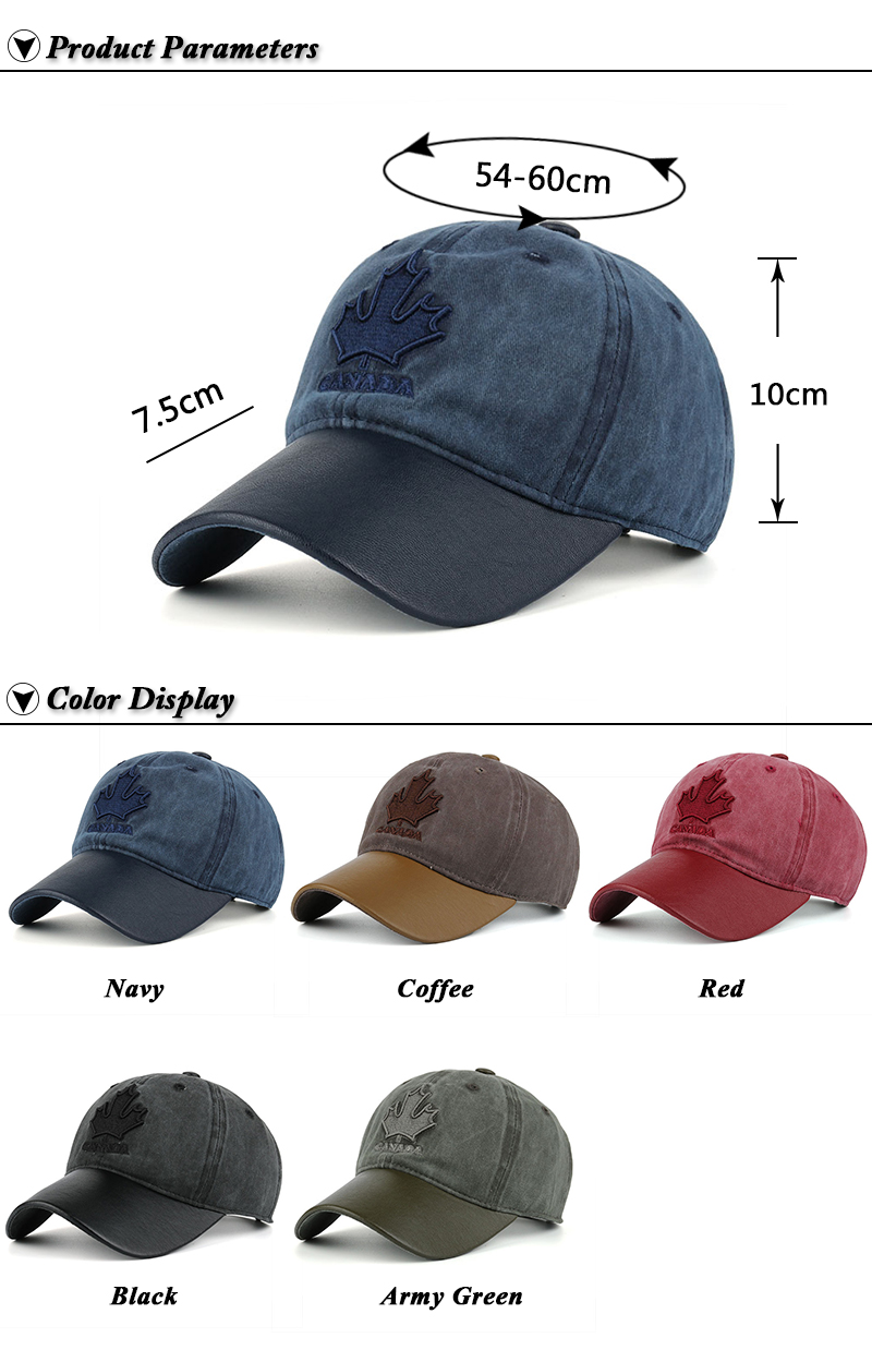 Embroidered Canadian Leaf Dad Hat - Product Parameters and Available Colors