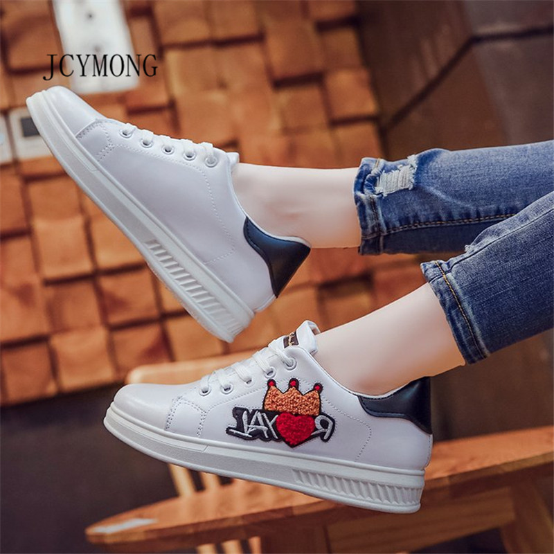 JCYMONG 2018 Spring Summer New Women PU Leather Shoes Heart Crown Print White Woman Fashion Sneakers Free Shipping