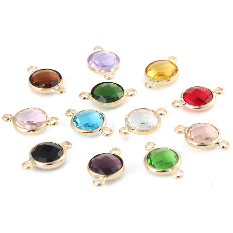 High quality 10mm gold color crystal birthstones gemstone for Birthstone beads for jewelry making