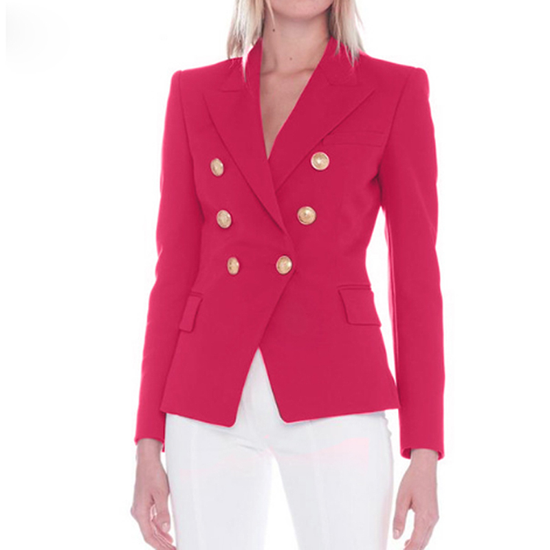 TOP QUALITY New 2020 Designer Blazer Jacket Women's Metal Lion Buttons Double Breasted Blazer Outer Coat Size S-XXL Rose Red