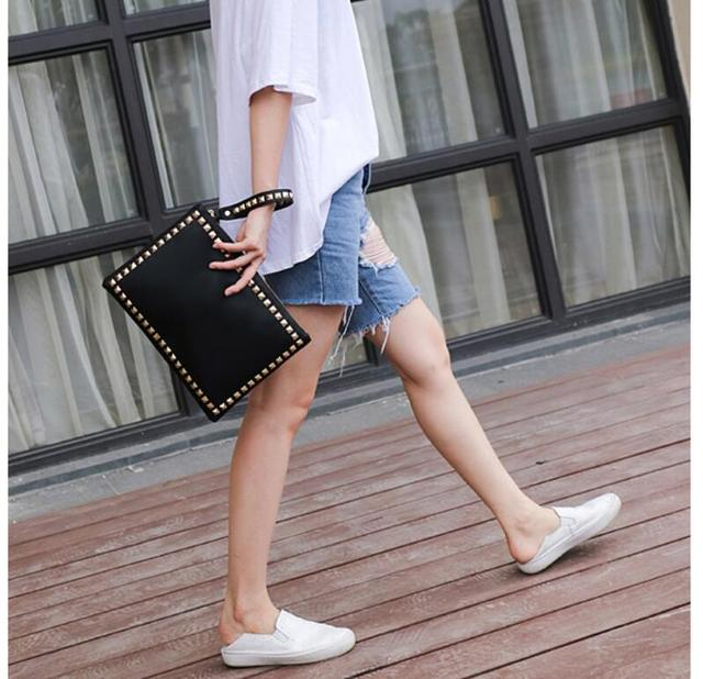 ANAWISHARE Women Day Clutches Leather Rivet Handbags Ladies Black Envelope Evening Party Bag High Quality Bolsas Feminina 3