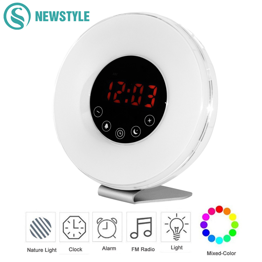 Sunrise Wake Up Night Light Led Digital Alarm Clock Fm