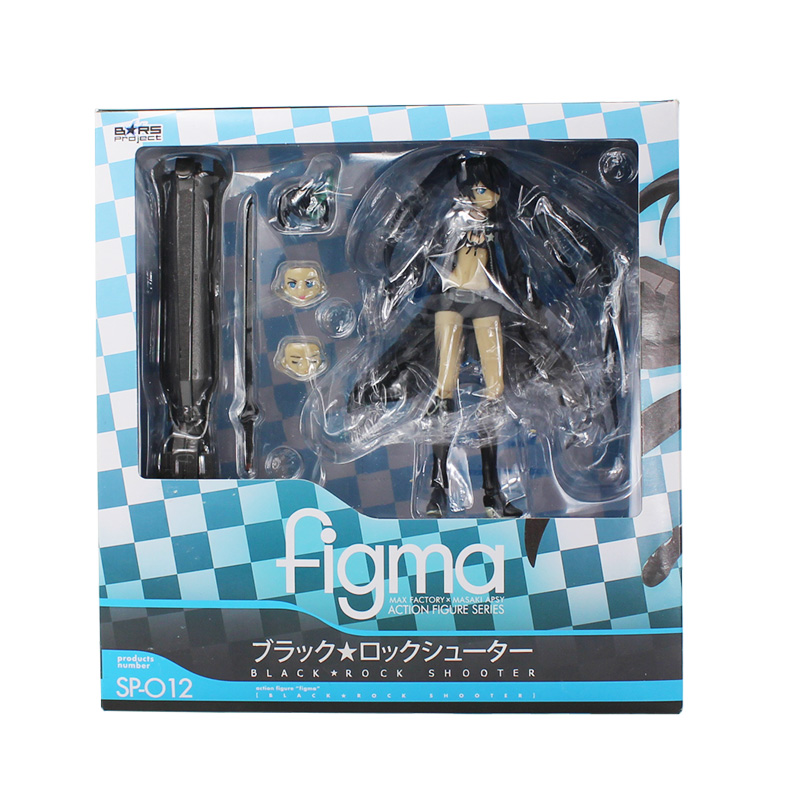 Figma SP012 Black Rock Shooter PVC Action Figure Toys SP-012 Collectible Model Doll Toy 15cm With Box Great Gift metal gear solid action figure sons of liberty figma 298 soldier pvc toy 16cm anime games figures snake collectible model doll