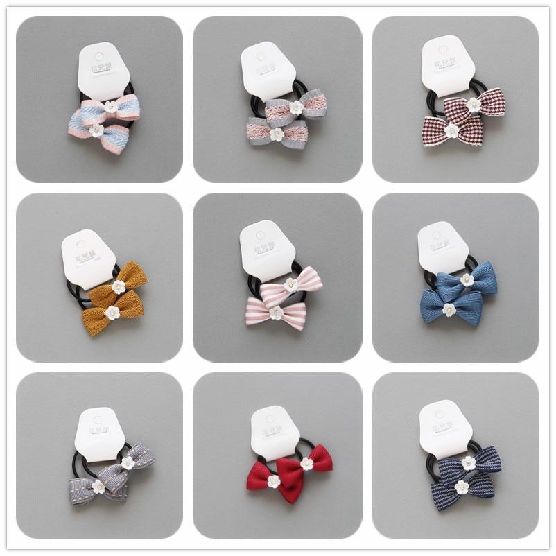 2 PCS New Flower Bowknot Girls Hair Accessories Princess Headwear Kids Elastic Hair Bands Children Hair Ropes Baby Headdress