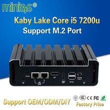 MINISYS Мини компьютер с низким энергопотреблением Kaby Lake core i5 7200u процессор поддержка 4 Гб ОЗУ NUC безвентиляторный ПК для Бизнес офиса