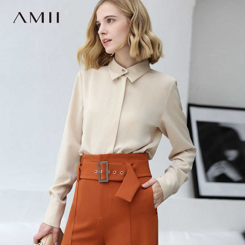 Amii Minimalist Women 2019 Autumn   Blouse   Office Lady Chic Elegant High Quality Original Design Female   Blouses     Shirts