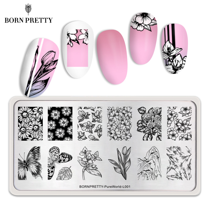 <font><b>BORN</b></font> <font><b>PRETTY</b></font> Rectangle Nail Stamping Plates Flower Butterfly Mixed Pattern Nail Art Image Design Tools Pure World <font><b>L001</b></font> image