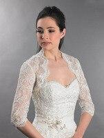 Elegant Half Sleeve Lace Wedding Bolero Woman Bridal Tull Appliqued Bridal Wrap Buttons Back Shrug Cape 2018 New Arrival