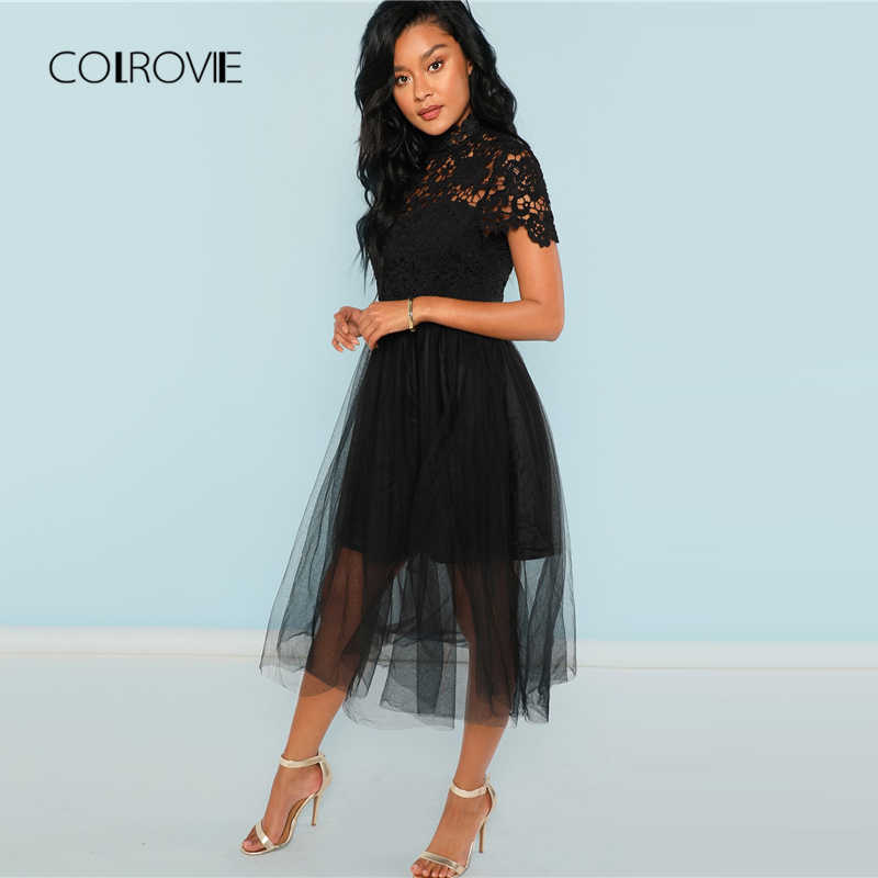 1e0af43af89 ... COLROVIE Black Solid Floral Bodice Mesh Lace Sexy Dress Women 2018  Autumn Long Party Dress Vintage ...
