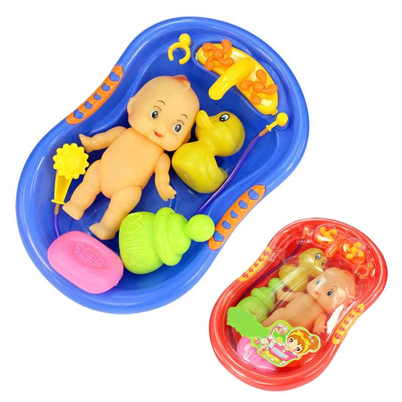 Baby Doll In Bath Tub With Shower Accessories Set Kids Pretend Role Play Toy Dolls
