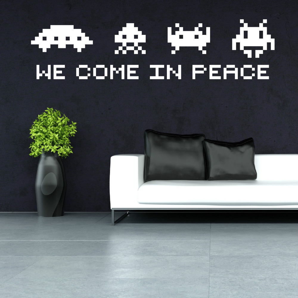 SPACE INVADERS Wall Art Quote - we come in peace Retro Vinyl Wall Decal STICKER Game SPACE INVADERS Play Room Decor Mural ZB313