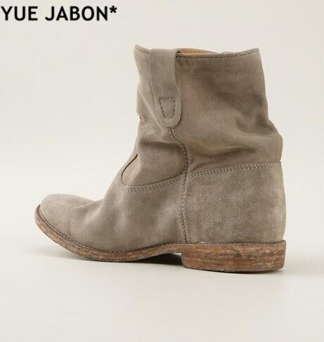 Yue jabon 라운드 발가락 웨지 증가 발 뒤꿈치 숙녀 부츠 브랜드 스트리트 스타일 여성 발목 부츠 플랫 가을 카우보이 발목 부츠 mujer-에서앵클 부츠부터 신발 의  그룹 1
