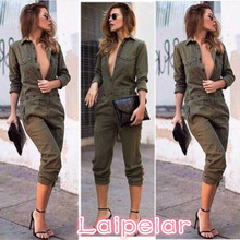 2018 Fashion Casual Army Green Jumpsuit Womens V-Neck Ladies Evening Clubwear NightOut Party Playsuit Pocket Hot Selling army green v neck cut out self tie playsuit