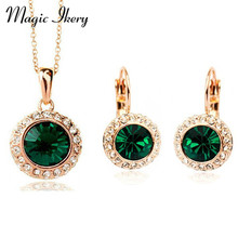 New Fashion Wedding Crystal Jewelry Sets Vintage Moon River Rhinestone Top Quality Necklace Earrings for Women IKK8558