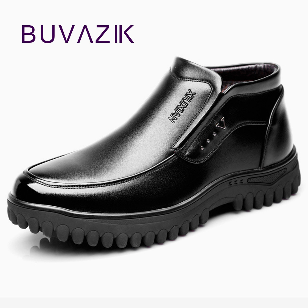 BUVAZIK 2018 winter boots men plush warm and waterproof Non-slip snow boots men leather Plus velvet warm mid-top shoes