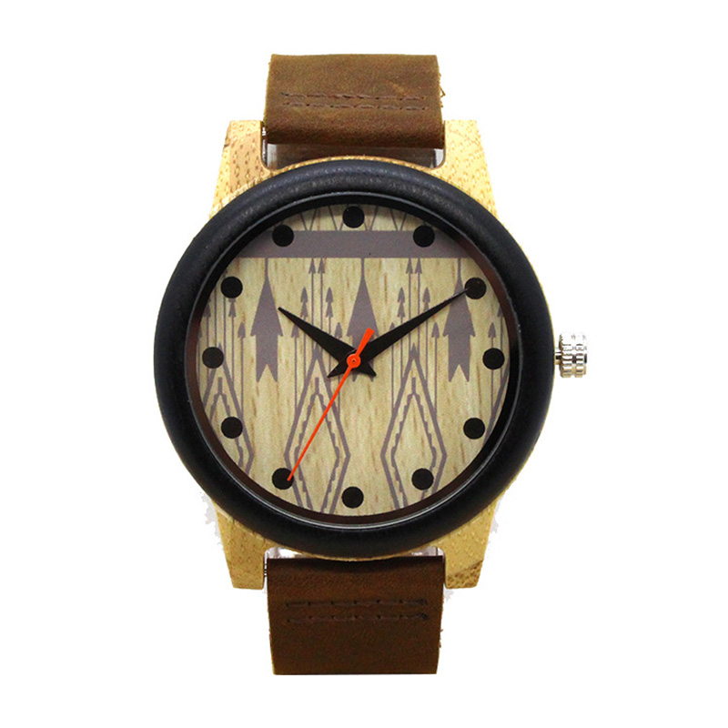 GUCAMEL Luxury Handmade Bamboo Watch Men Leather Strap