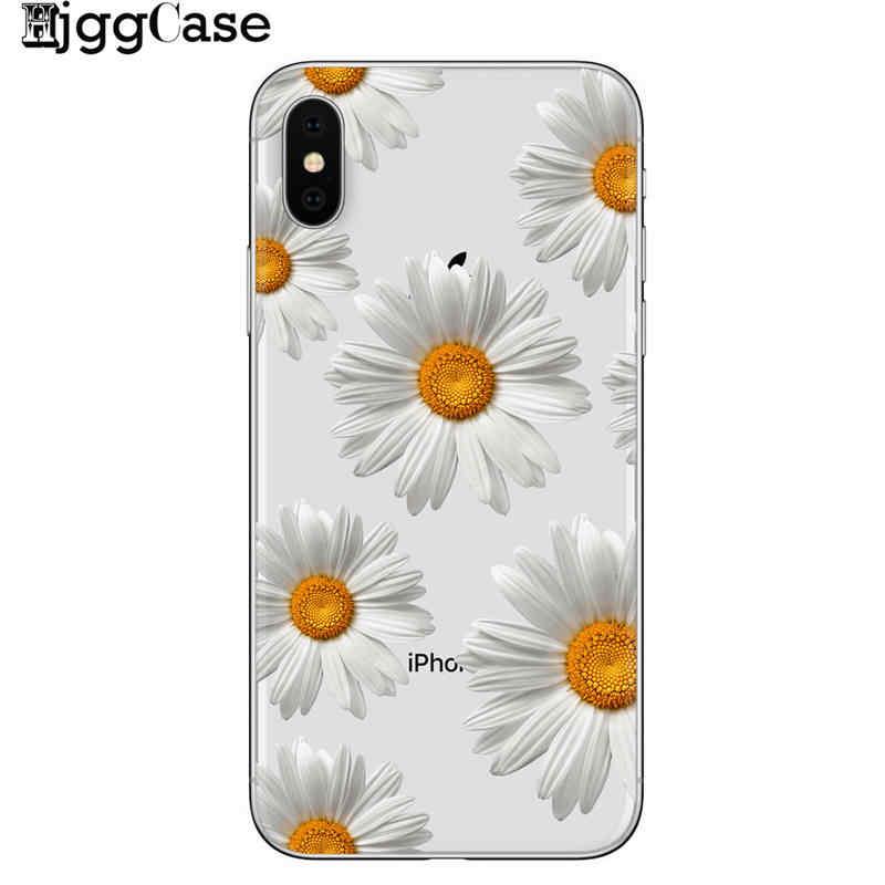 Bonito do Verão Margarida Girassol Floral Flor Macia Caso de Telefone Claro Para iPhone 7 7 Plus 6 6 S 8 8 MAIS X XS Max SAMSUNG S8 S9 S10 PLUS