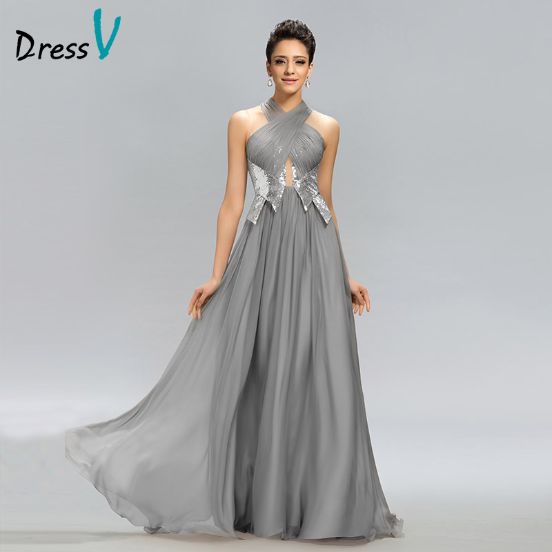 Dressv Hot Sale Long   Evening     Dress   Gray Halter A-Line Pleats Sequined Zipper Floor Length Formal   Dress   Party   Evening     Dresses