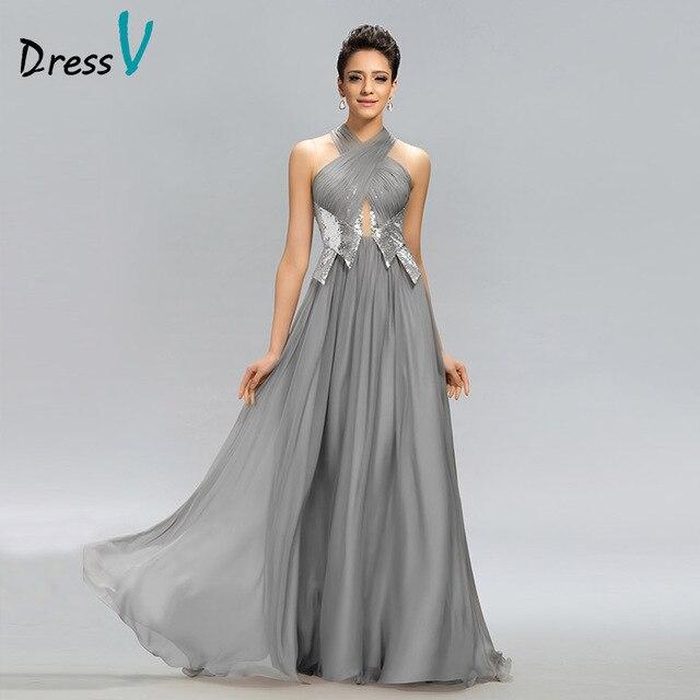 68f62d8b41 Vestido de noche largo de gran venta vestido de noche gris Halter línea a  pliegues con