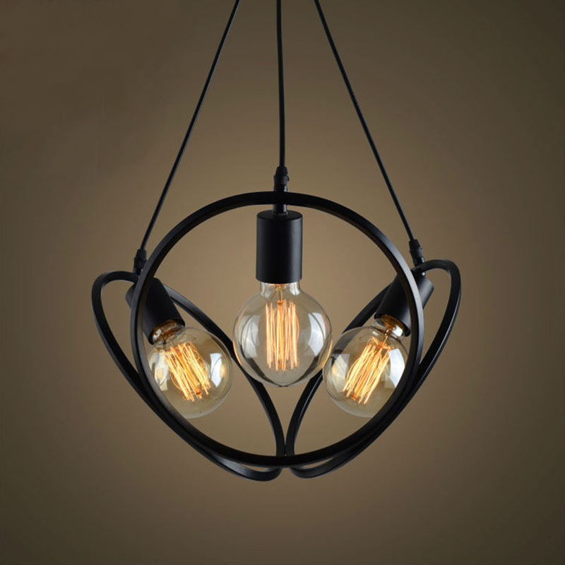 black vintage industrial pendant lights nordic retro lamp iron lampshade loft metal cage dining room Countryside pendant lamp new loft vintage iron pendant light industrial lighting glass guard design bar cafe restaurant cage pendant lamp hanging lights