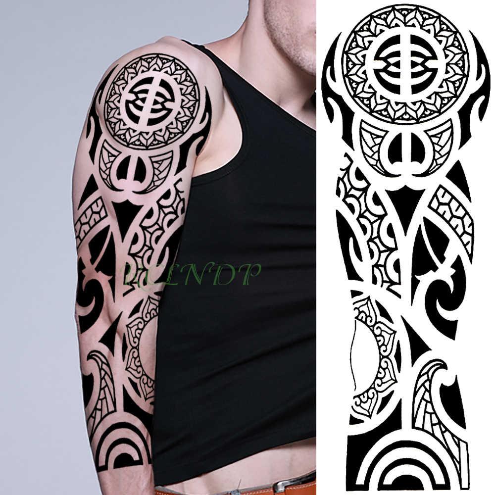 Wodoodporna Tymczasowa Naklejka Tatuaż Tribal Totem Old School Pełne Ramię Fałszywy Tatuaż Flash Tatuaż Rękaw Duży Rozmiar Dla Kobiet Mężczyzn