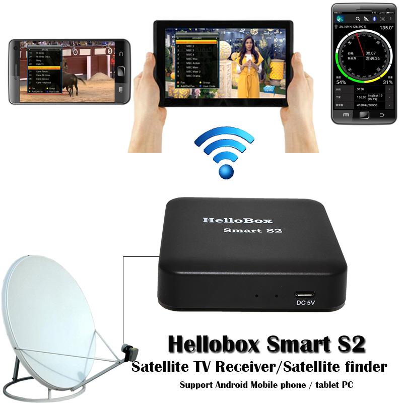 Hellobox Smart S2 TV Receiver Play On Mobile Phone Satellite Finder Support TV Play Hellobox B1 finder Upgrade Version hellobox b1 bluetooth satellite finder with android system app for satellite tv receiver new style app satellite meter