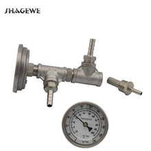 In-line Bi-metal Thermometer Assembly, 2 Micron Diffusion Oxygen Stone, 1/2 Tee, Hose Barb Fittings & Hex Nipple Plate Chiller