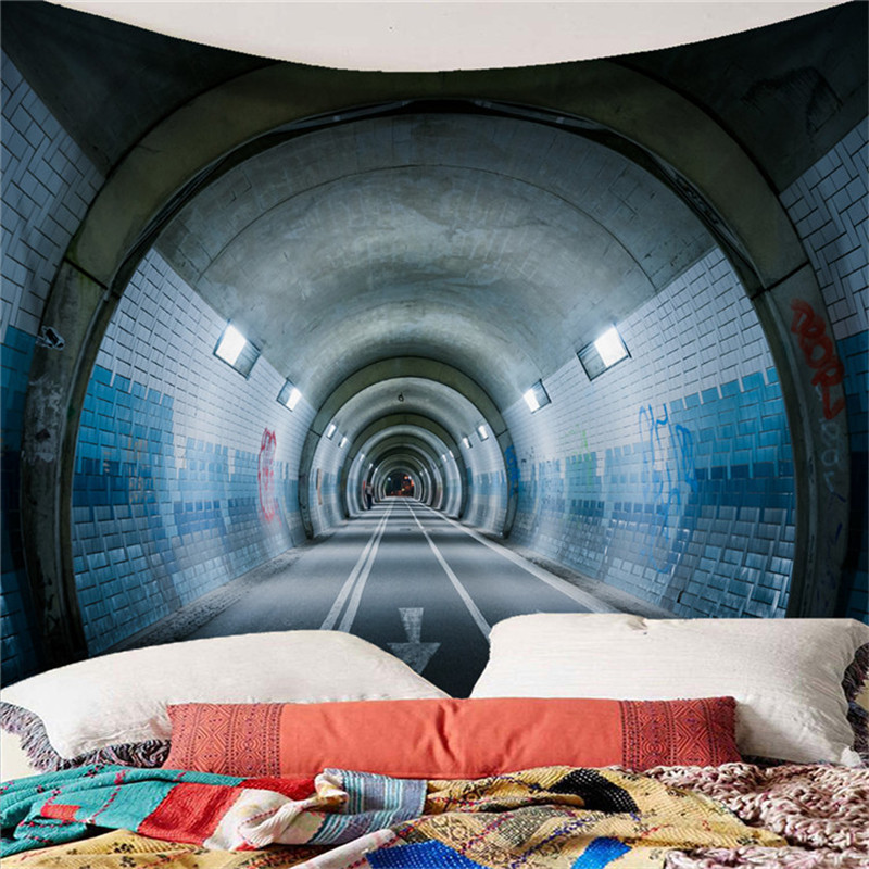 Home & Garden Tapestry Art Tapestry New Personality Road Tunnel Landscape Tapestry Home Tablecloth Sofa Pad Beach Towel Outdoor Meal Pad