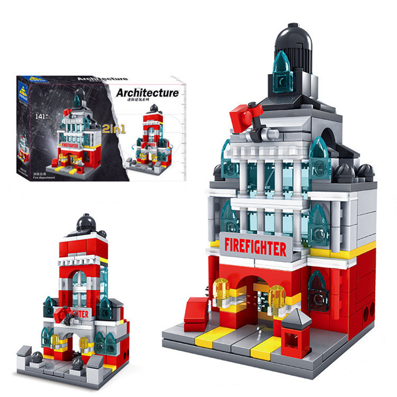 KAZI City Architecture Building Blocks Firefighter Station DIY Bricks Children Game Educational Toys hot sale 1000g dynamic amazing diy educational toys no mess indoor magic play sand children toys mars space sand