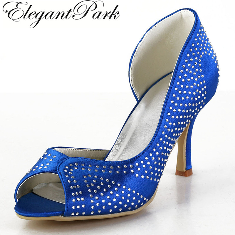 цена на EP2075 Women Royal Blue Pumps Peep Toe Rhinestone High Heel Satin Women Wedding Bridal Shoes Evening Party Pumps Women Shoes