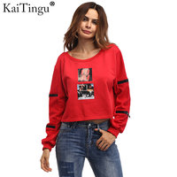 KaiTingu Brand Fashion Women Sweatshirt Long Sleeve Red Tracksuit Jumper Pullover For Autumn And Winter