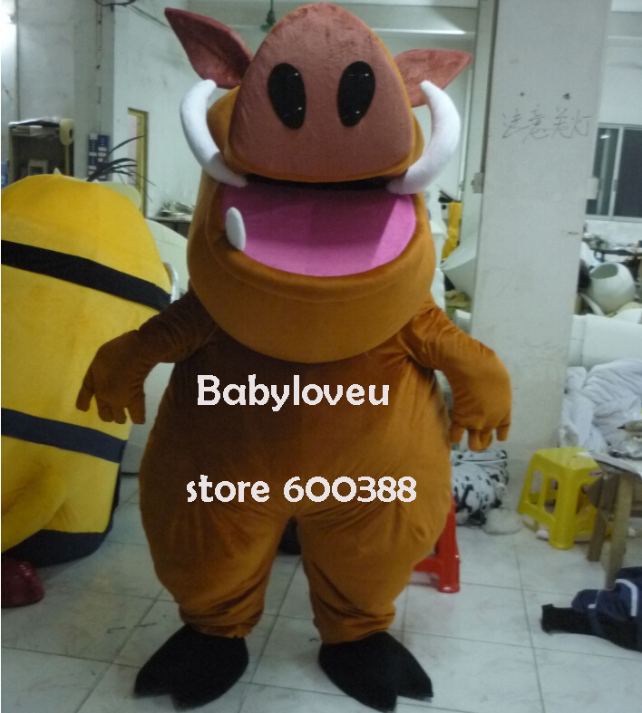 High quality Adult size Cartoon Mascot Costume lion king pumba cosplay halloween costume christmas Crazy Sale