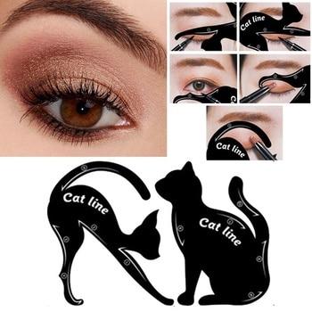 5Pairs Eyeliner Makeup Stencil Cat Line Smokey Eye Makeup Eyeliner Models Card Eyebrow Template Model Eyebrow Guide Makeup Tools