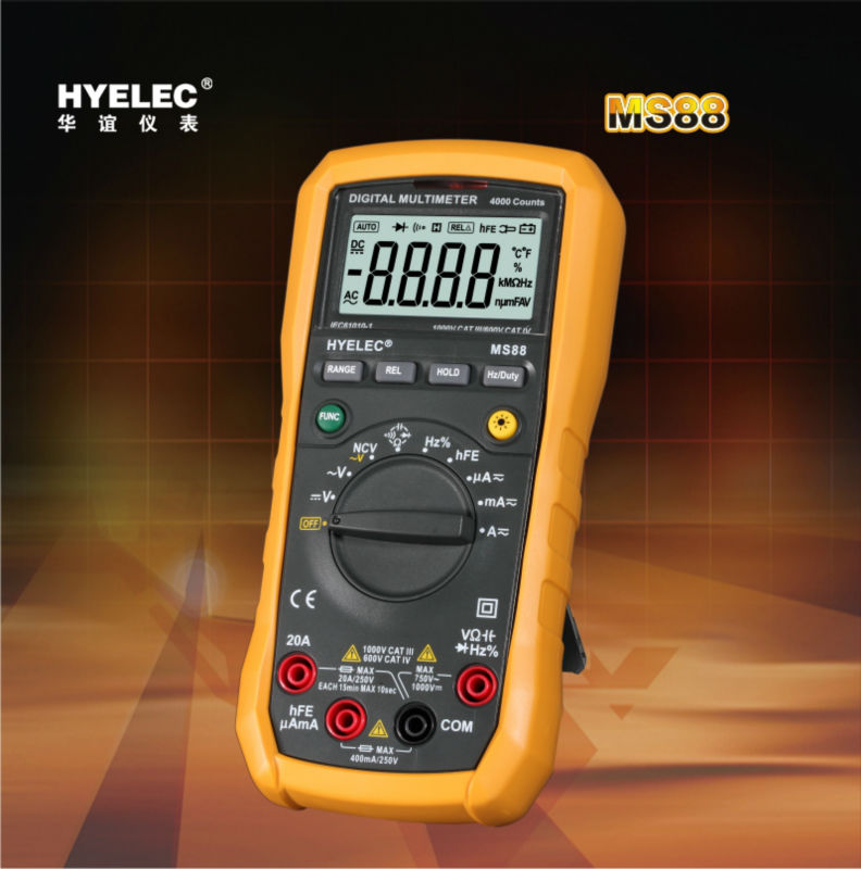 ФОТО HYELEC MS88  Digital Multimeter AC / DC Voltage and Current / Resistance / Capacitance / Frequency / Duty Cycle Multitester
