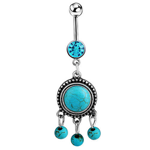 King's Jewelry  316L Surgical Steel  Charms Belly Dance Jewelry Button Bar Navel Ring  7EOH 7RDN