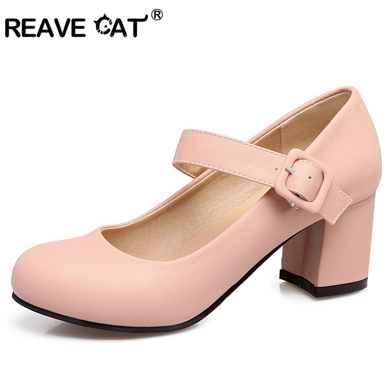 REAVE CAT Women shoes Mary jane Ladies high heels White Wedding shoes Thick  Heel Pumps Lady shoes Black Pink Plus Size 43 RL3517 758678a35a55