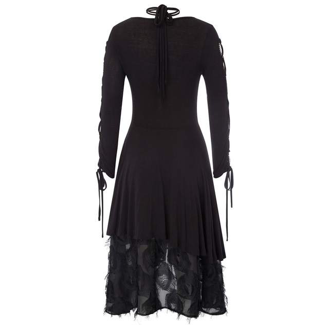 A-line Black dress Women retro style Gothic Victorian Long Ribbon Lace up Sleeves V-Neck Witchy vintage Dress for party vestido 1