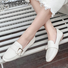 EshtonShero Womens Flats Shoes Woman Leather+PU Flat Heel Round Toe Slip On Fashion Buckle Brown Ladies Wedding Size 3-11