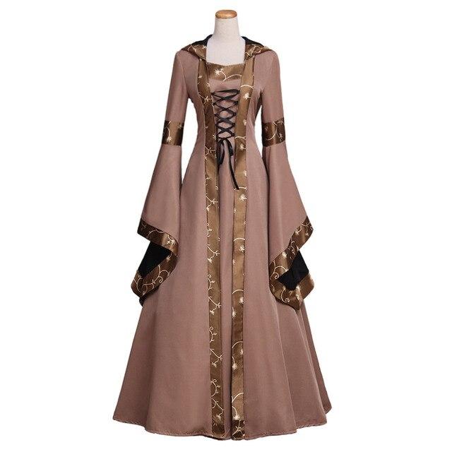 70e490c796c0 Donna Retrò Europeo Abbigliamento Rinascimento Medievale Gotico Cappuccio Lungo  Abiti Del Partito Vestiti Da Sera Su