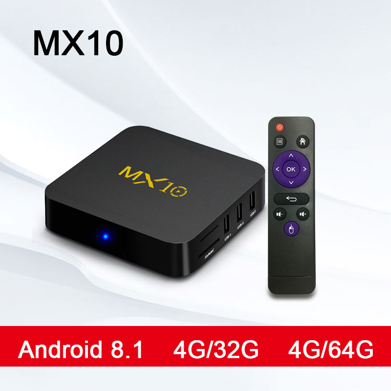 MX10 Android TV caja de RK3328 4 K TV caja Android 8,1 USB3.0 4 GB 32 GB 64 GB Miracast WiFi HD reproductor de medios para Smart TV