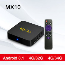 MX10 Android ТВ коробка RK3328 4 K ТВ Box Android 8,1 USB3.0 4 ГБ, 32 ГБ, 64 ГБ Miracast Wi-Fi HD медиаплеер для Smart ТВ PK T9 ТВ коробка