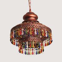 Bohemian Mediterranean rural garden crystal pendant lamp retro villa living room lamp ethnic style small pendant light WL5051107