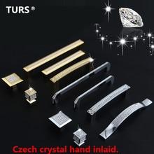 24K реальные золотые или хромированные Чешские Хрустальные Ручки для ящиков шкафа ручки для двери шкафа мебельные ручки