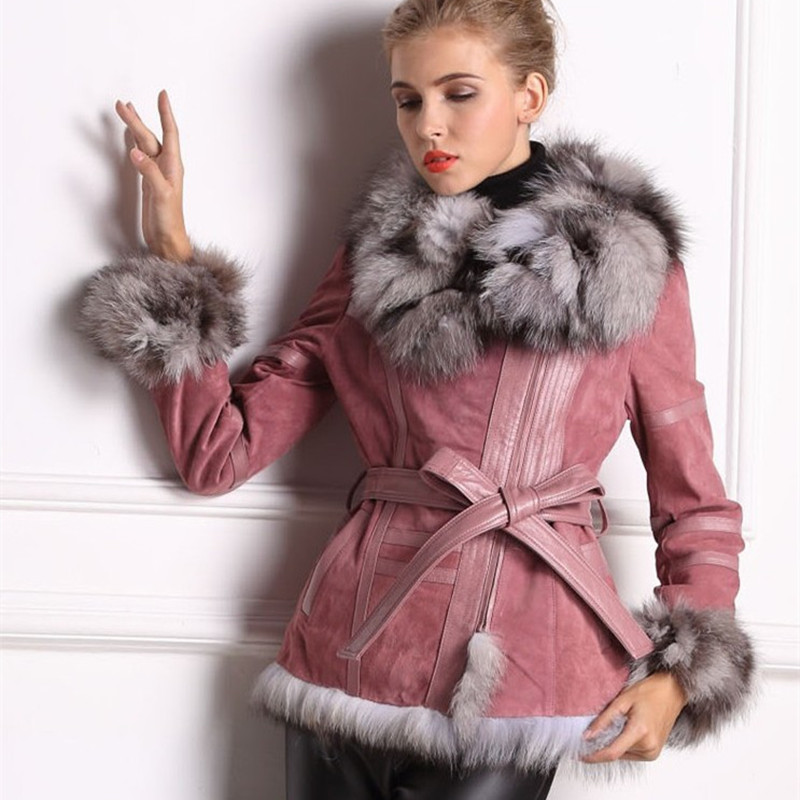 Lady Autumn Genuine Real Leather Jacket Coat Fox Fur Collar And Sleeve Winter Women Fur Outerwear Coats Garment VK2264