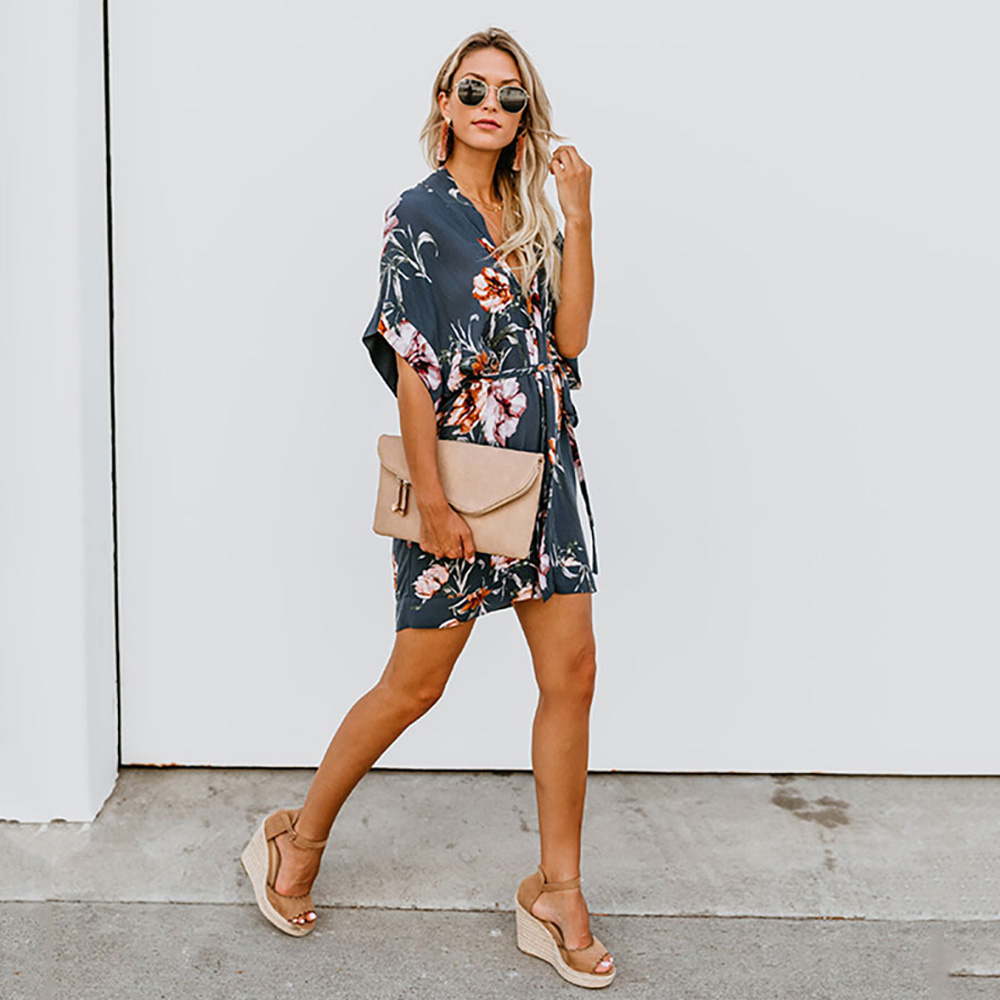 Moxeay 2019 Women Fashion Fit And Flare Print Casual Short Sleeve Dress Elegant Boho V Neck Floral Print Dress With Belt Vestido in Dresses from Women 39 s Clothing