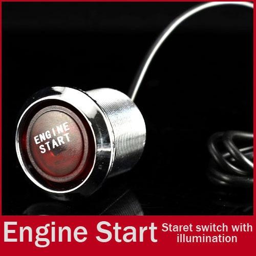 Universal 22mm RED LED Illumination Car Keyless Engine Ignition Starter Push Start Button Switch Drilling Free Shipping
